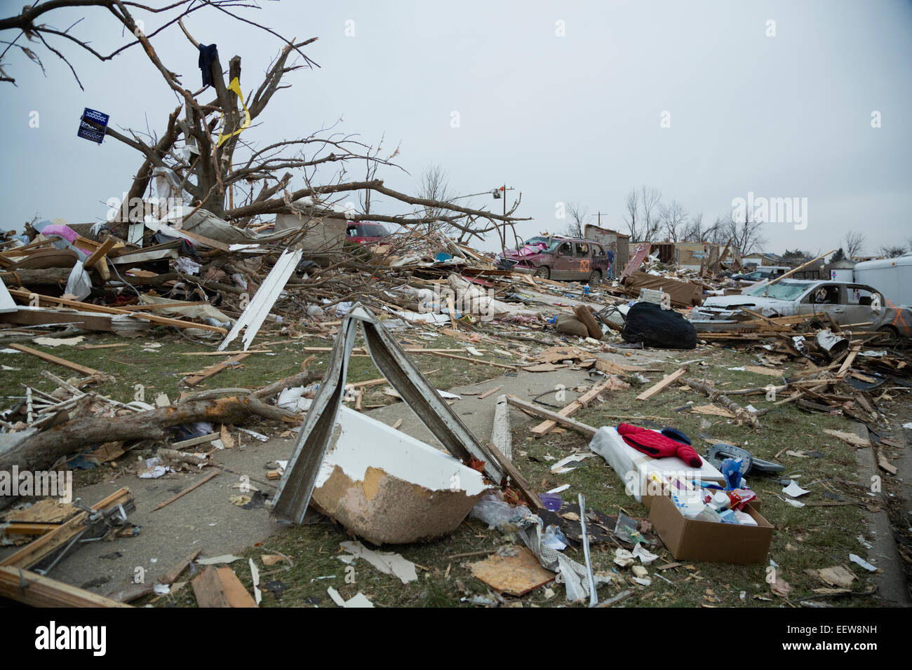 Rubble of town destroyed by tornado - Stock Image