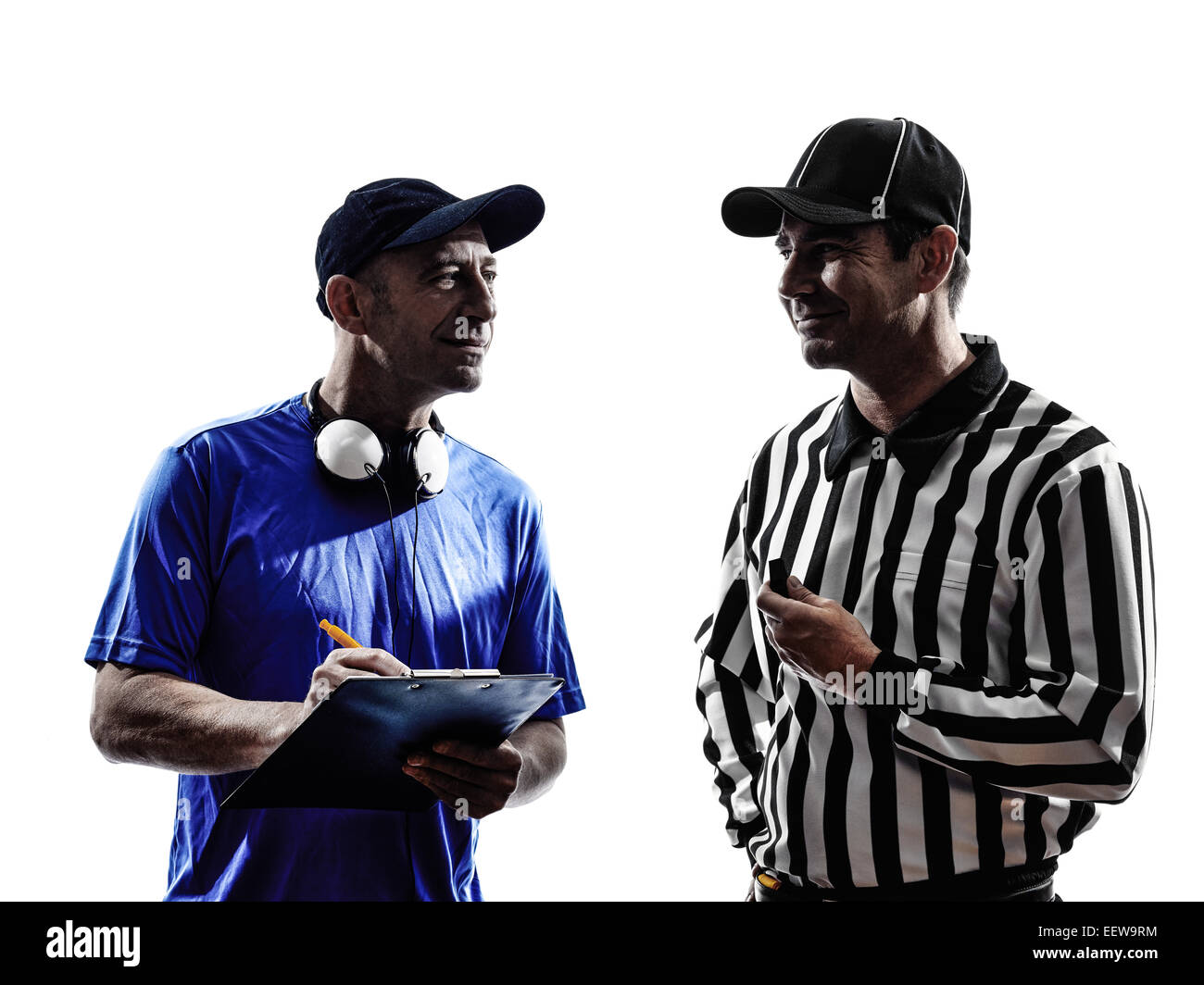 american football referee and coach  in silhouette on white background - Stock Image