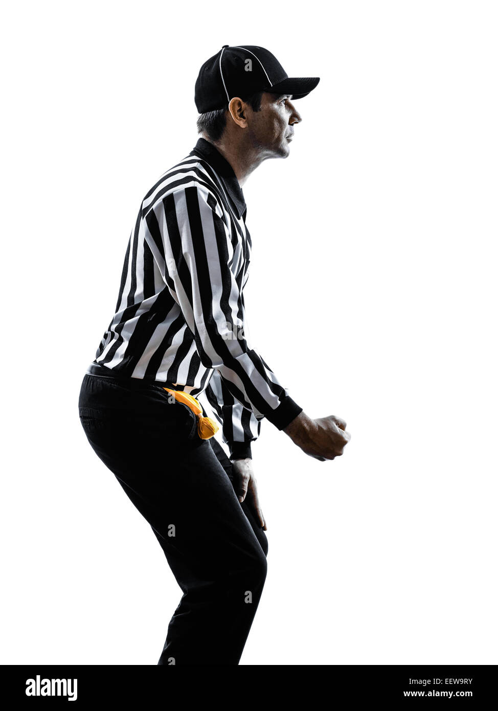 american football referee gestures clipping in silhouette on white background - Stock Image
