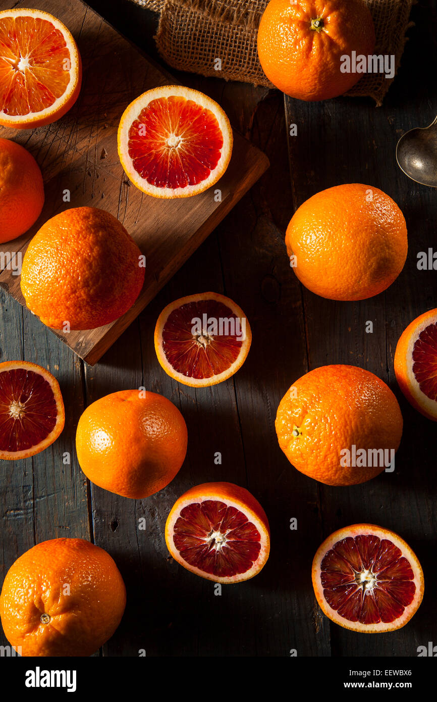 Organic Raw Red Blood Oranges on a Background - Stock Image