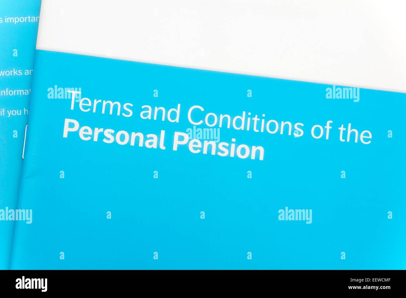 Terms and conditions of the personal pension book - Stock Image