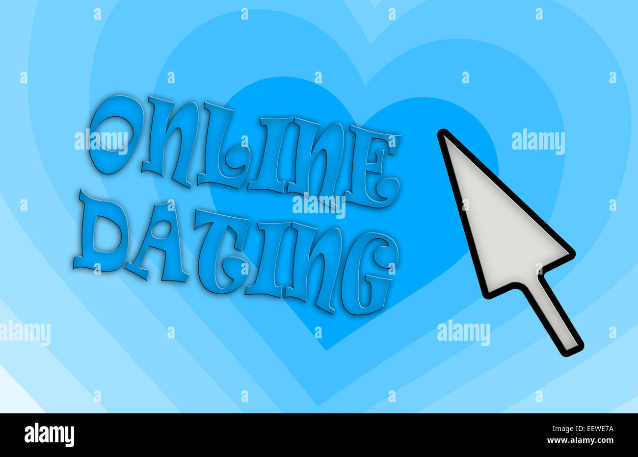 Heart shape backgound - Concept of dating - blue - Stock Image