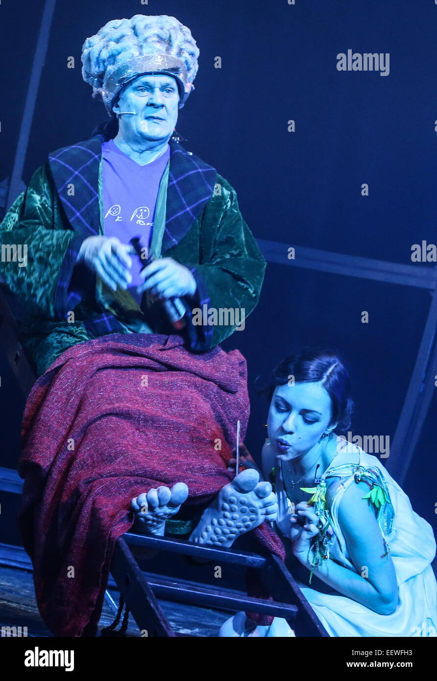 Moscow, Russia. 21st Jan, 2015. Actor Nikolai Glebov as Martin and Yekaterina Vasilyeva as Paquette in a scene from Stock Photo