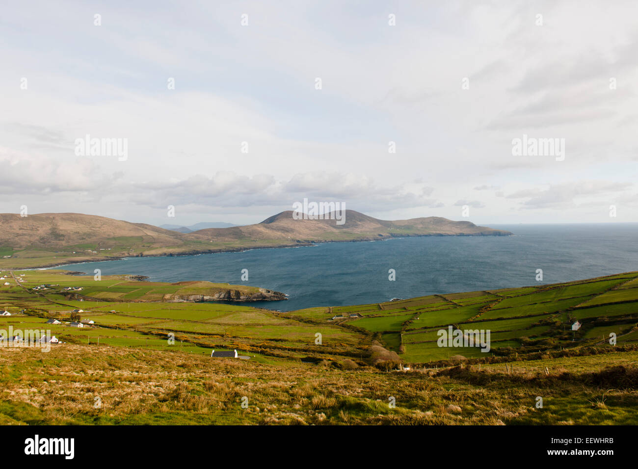 Bay with hedgerows, County Kerry, Ireland - Stock Image
