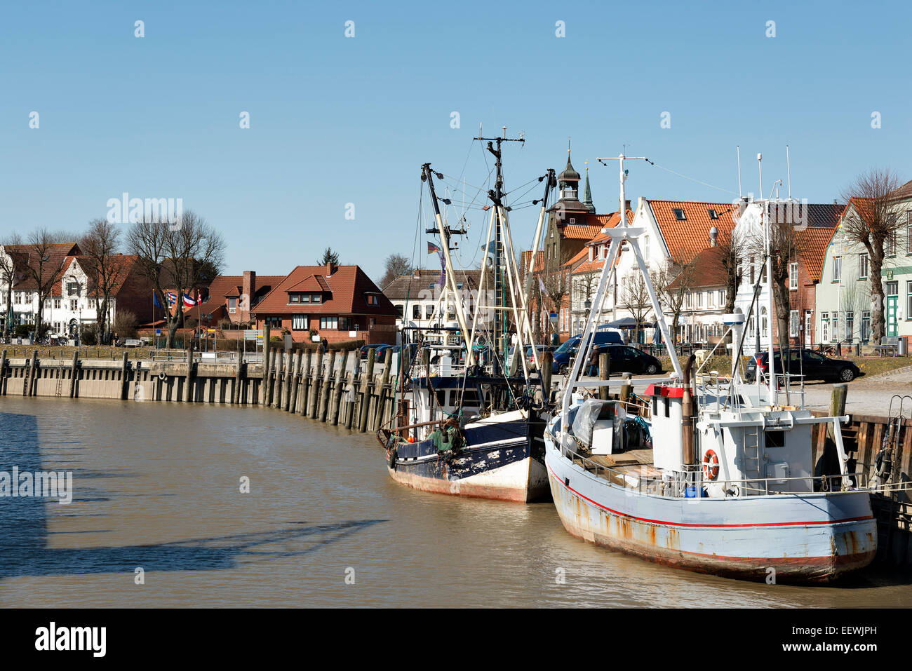Image of two ships in the harbour of Toenning in Northern Germany - Stock Image