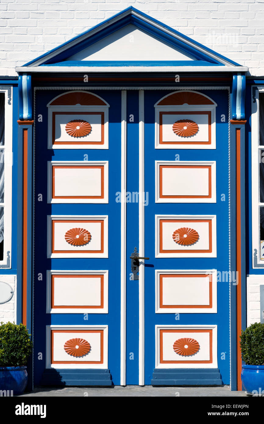 Image of a beautiful wooden door in Northern Germany - Stock Image