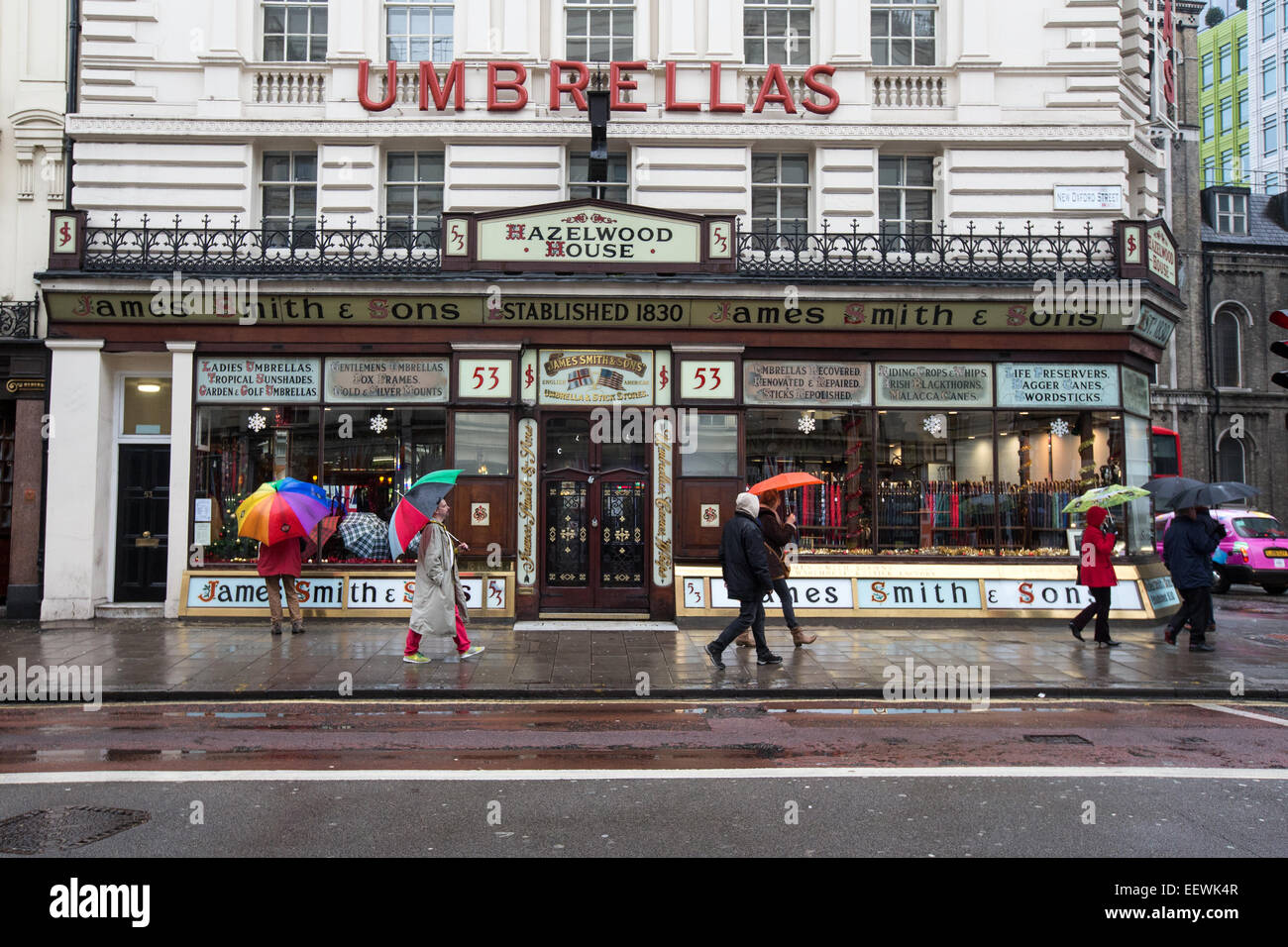 James Smith and Sons, New Oxford Street-Victorian shop front selling Umbrellas and Ladies and Gentlemens canes and - Stock Image