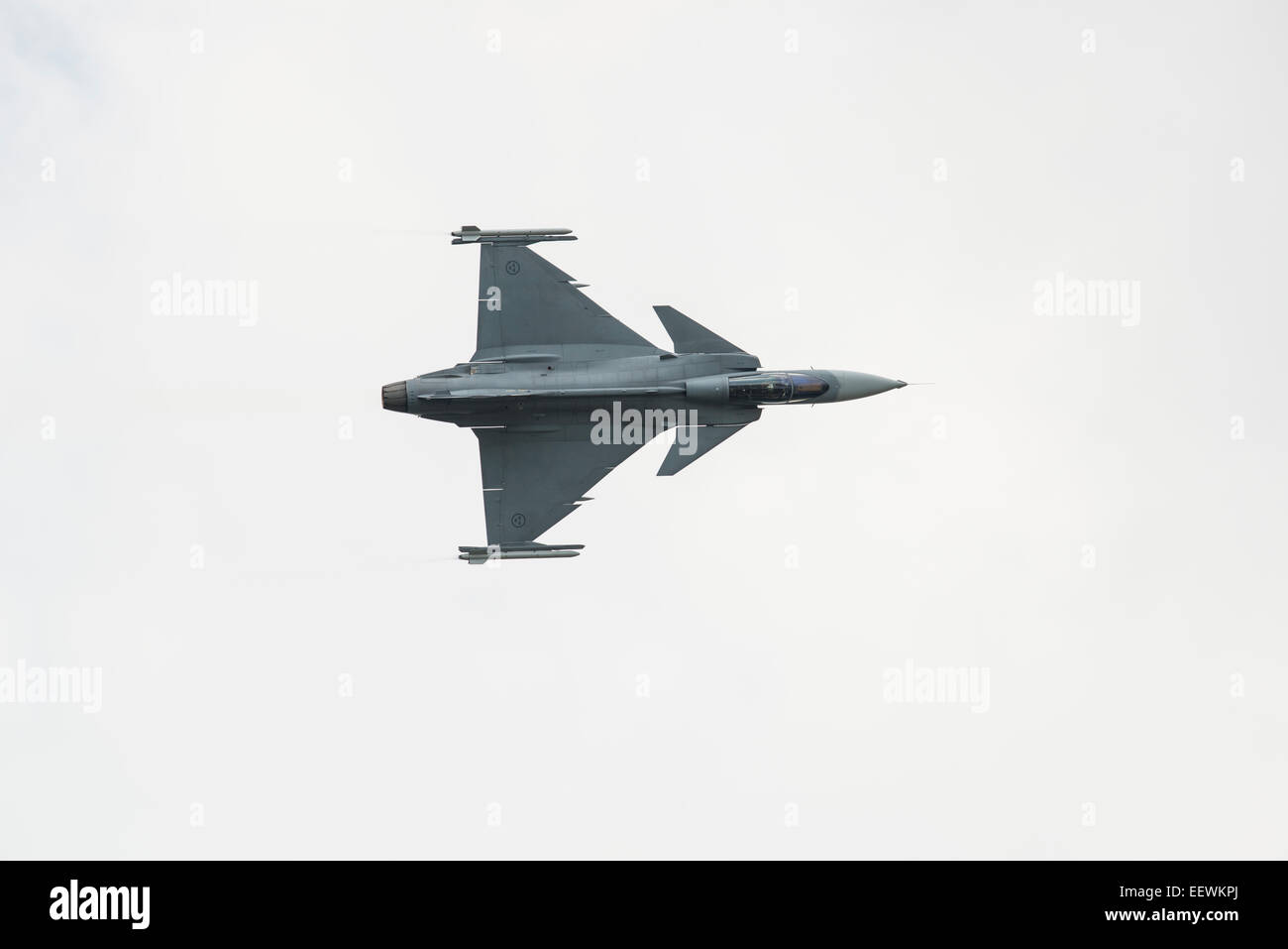 Saab JAS39C Gripen Fighter Jet of the Swedish Air Force F7 Squadron displays at Fairford during the 2014 RIAT - Stock Image