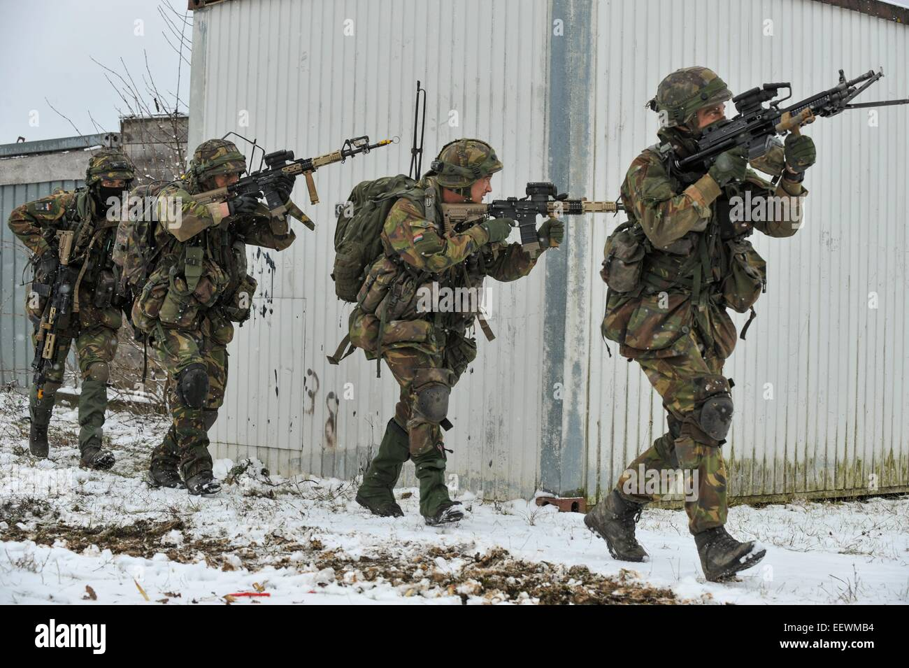 Dutch soldiers during NATO exercise Allied Spirit at the U.S. Army Joint Multinational Readiness Center January - Stock Image