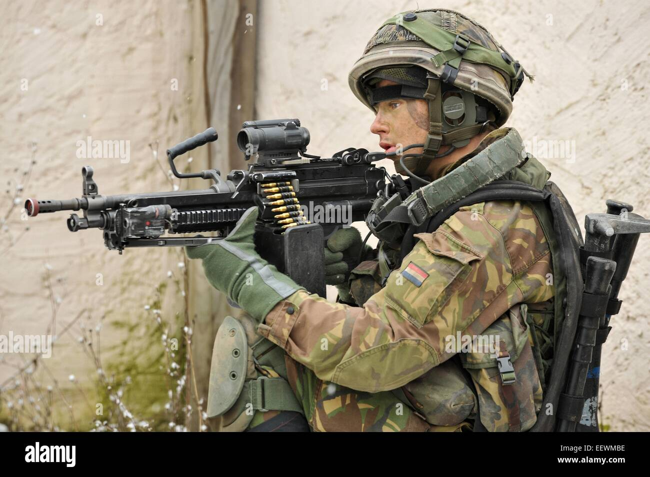 A Dutch soldier fires his machine gun during NATO exercise Allied Spirit at the U.S. Army Joint Multinational Readiness - Stock Image