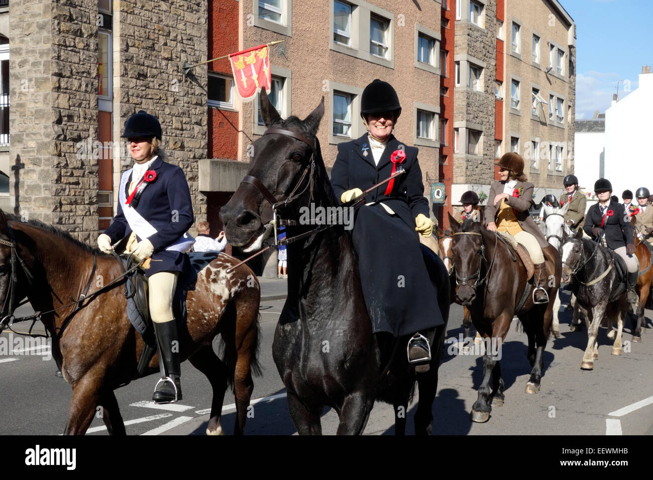 The ride up the Royal Mile in the 2014 Edinburgh Riding of the Marches - Stock Image