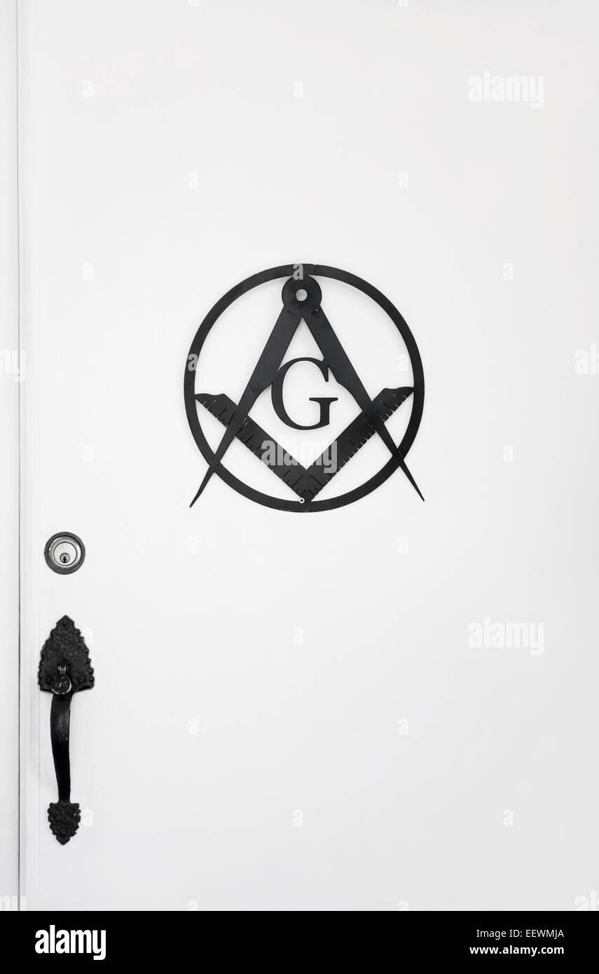 Freemason Masonic sign on door, known as the Masonic Square - Stock Image