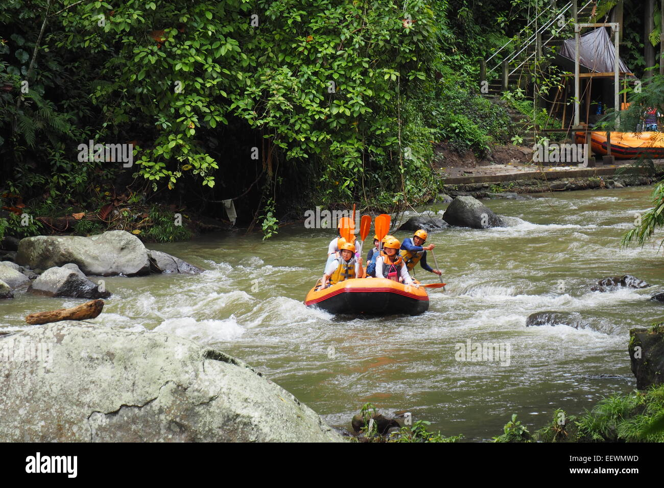Group Of People White Water Rafting On The Ayung River Ubud Bali Stock Photo Alamy
