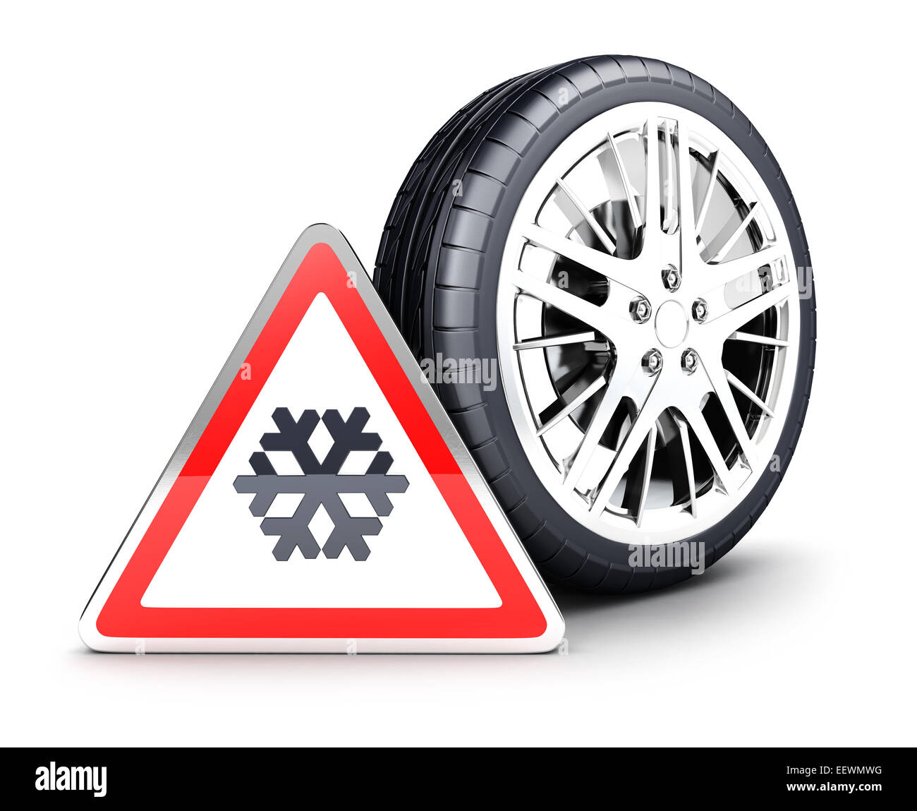 3d snow wheel and snowflake warning sign, isolated white background, 3d image Stock Photo