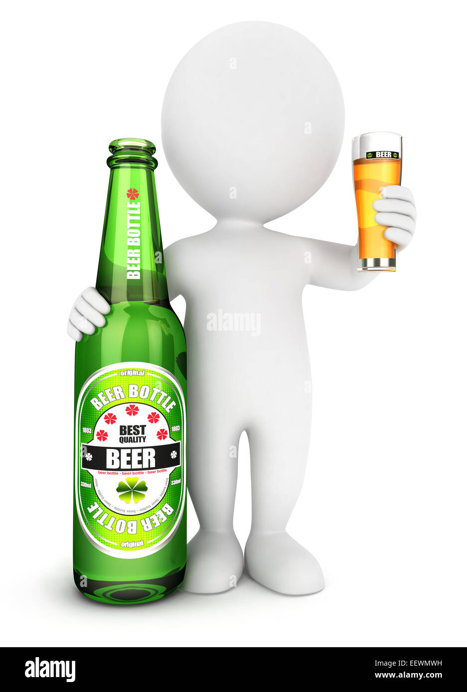3d white people beer bottle, isolated white background, 3d image Stock Photo