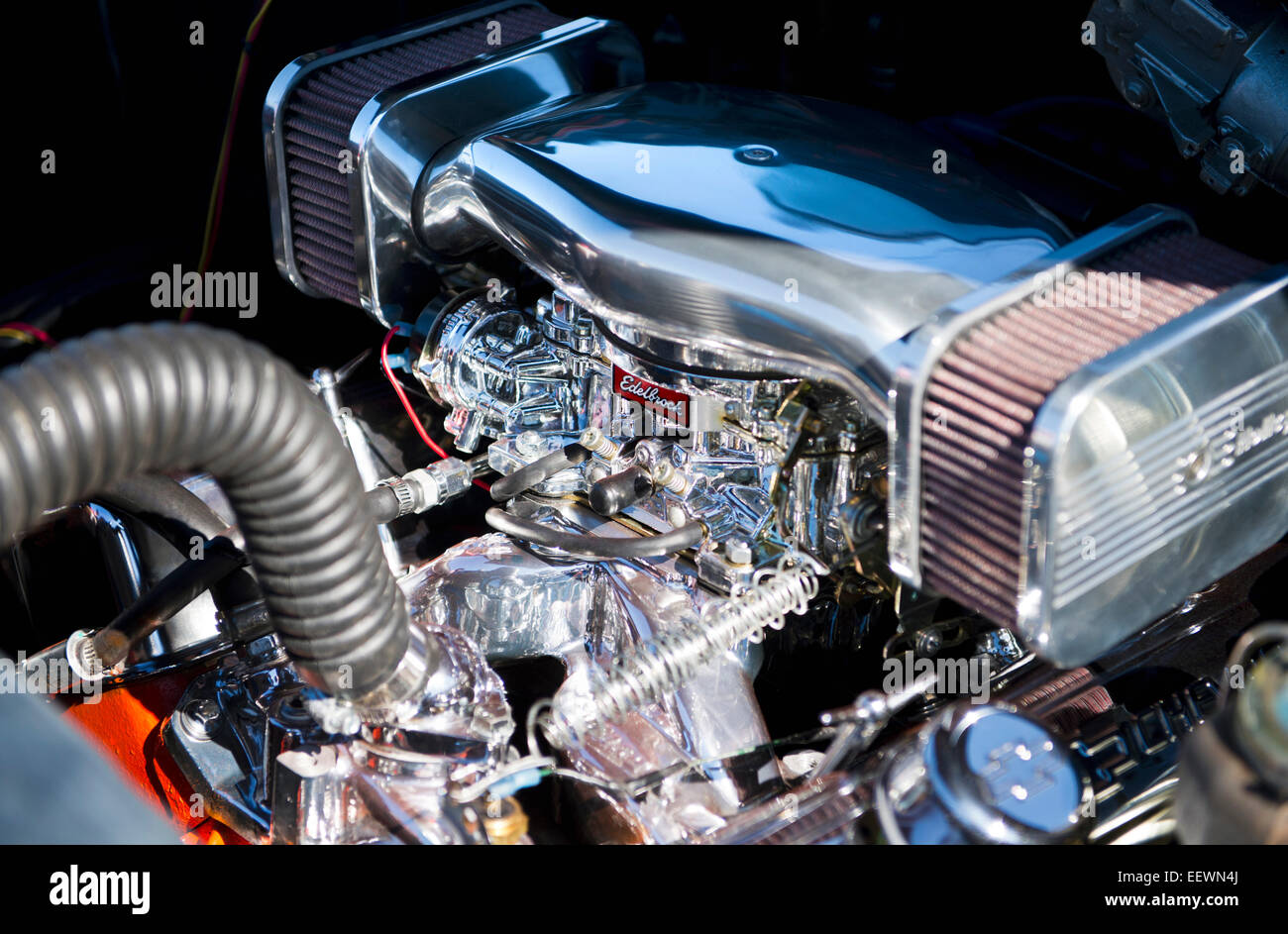 V8 American Chrome High Performance Custom Car Engine with Edelbrock Manifold Stock Photo