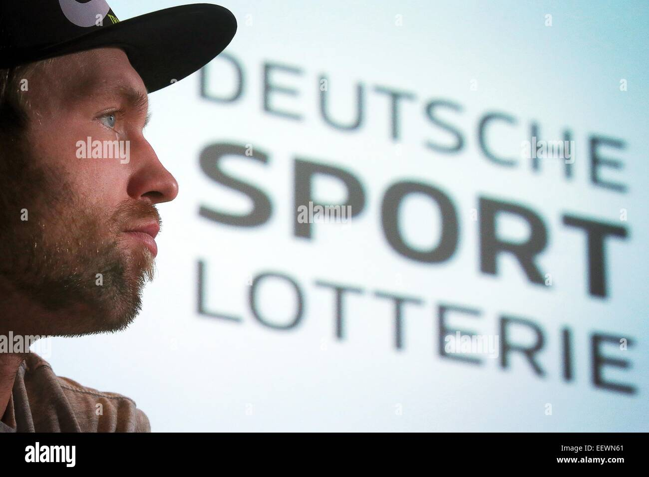 Wiesbaden, Germany. 21st Jan, 2015. Germany's Olympic winner in discus throwing, Robert Harting, attends a press - Stock Image