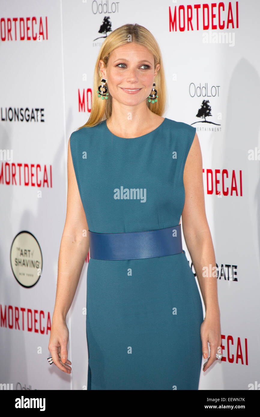 Actress Gwyneth Paltrow arrives at the premiere of Mortdecai in Los ...