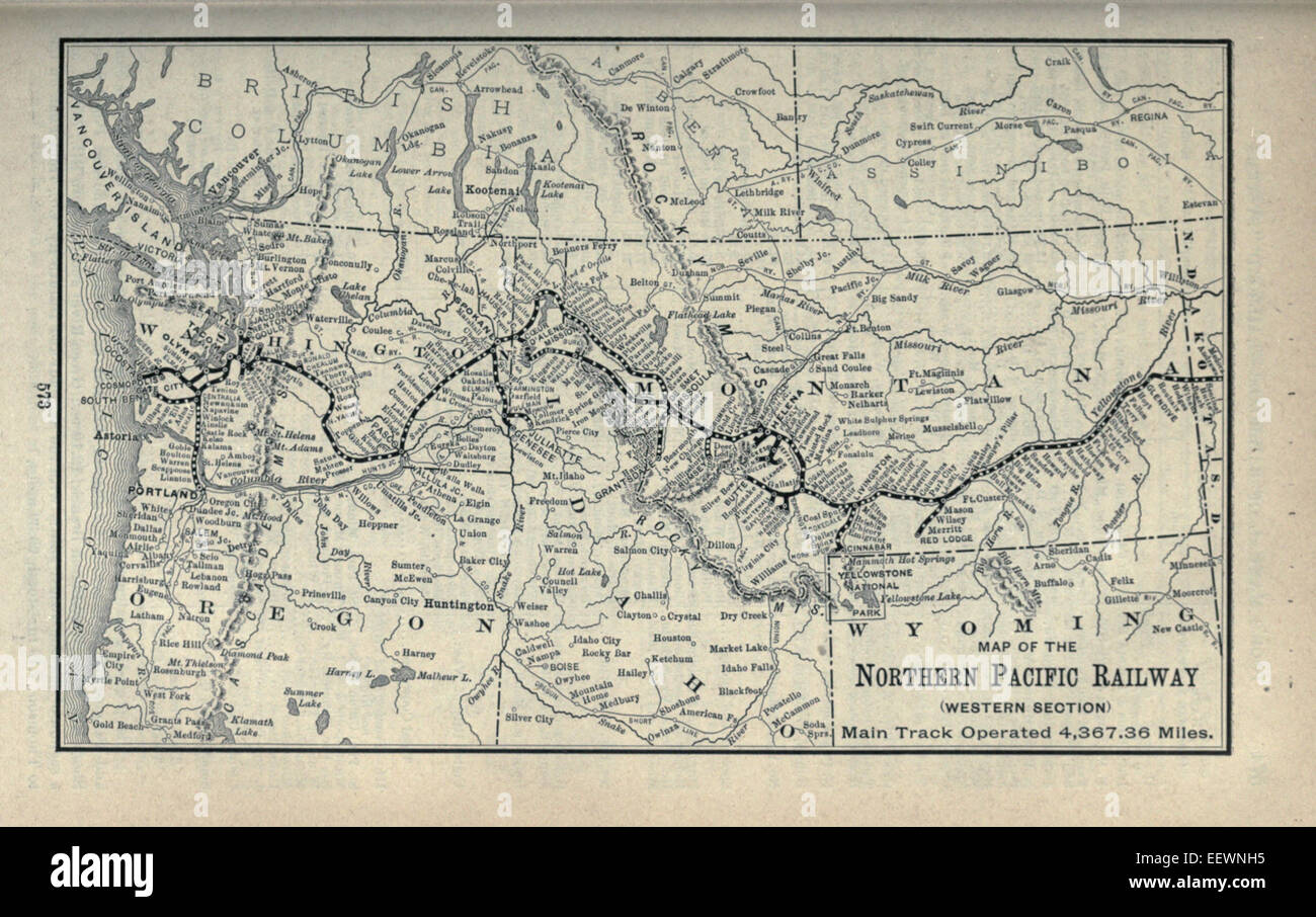 northern pacific railroad map Northern Pacific Railway Map High Resolution Stock Photography And northern pacific railroad map