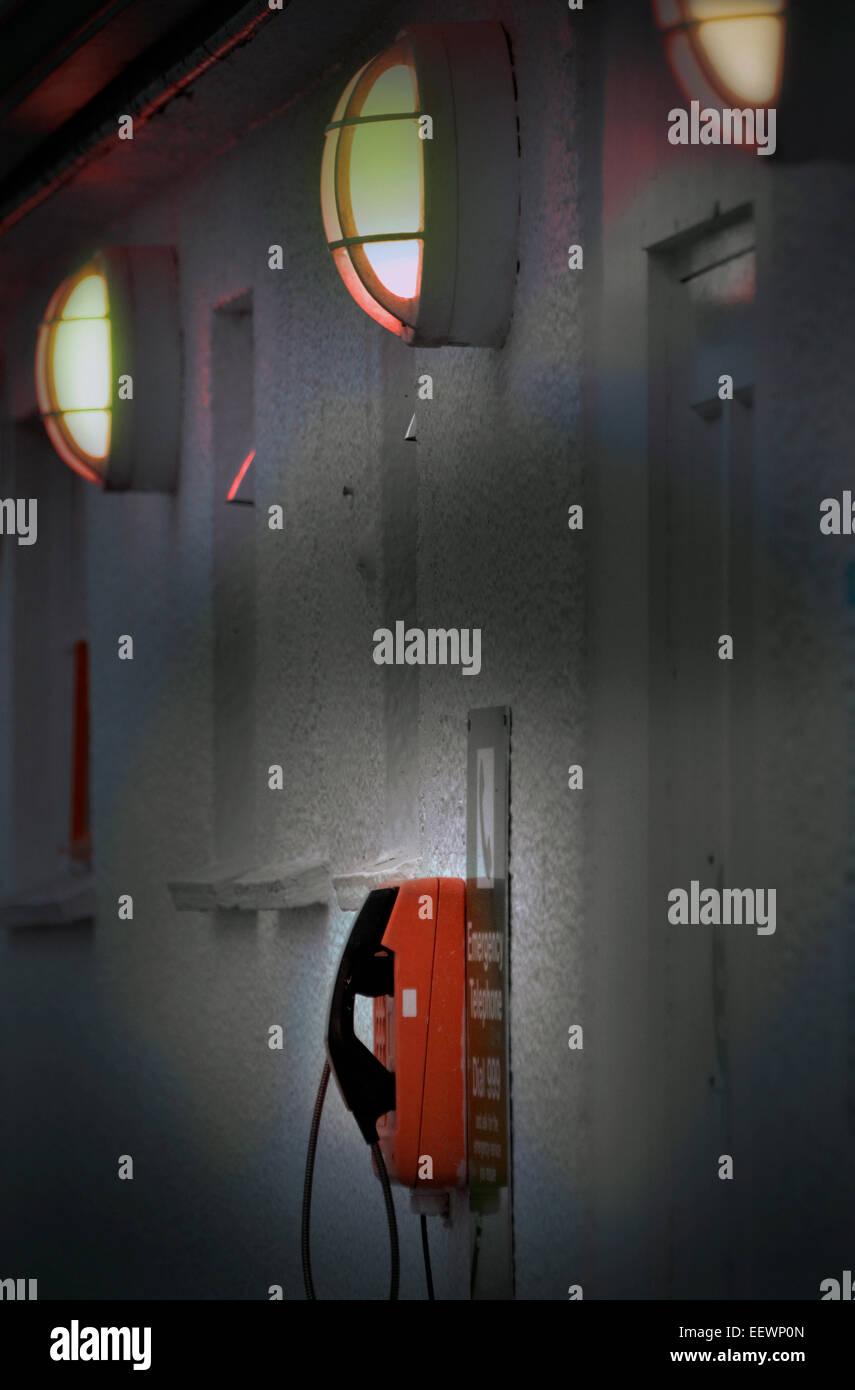 lights and emergencey telephone - Stock Image