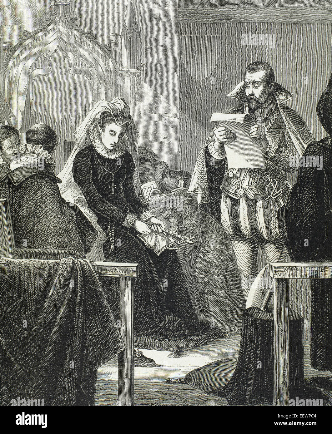 Mary, Queen of Scots (1542-1587) and Queen consort of France. Mary Stuart on the scaffold. Engraving in 'Almanaque - Stock Image