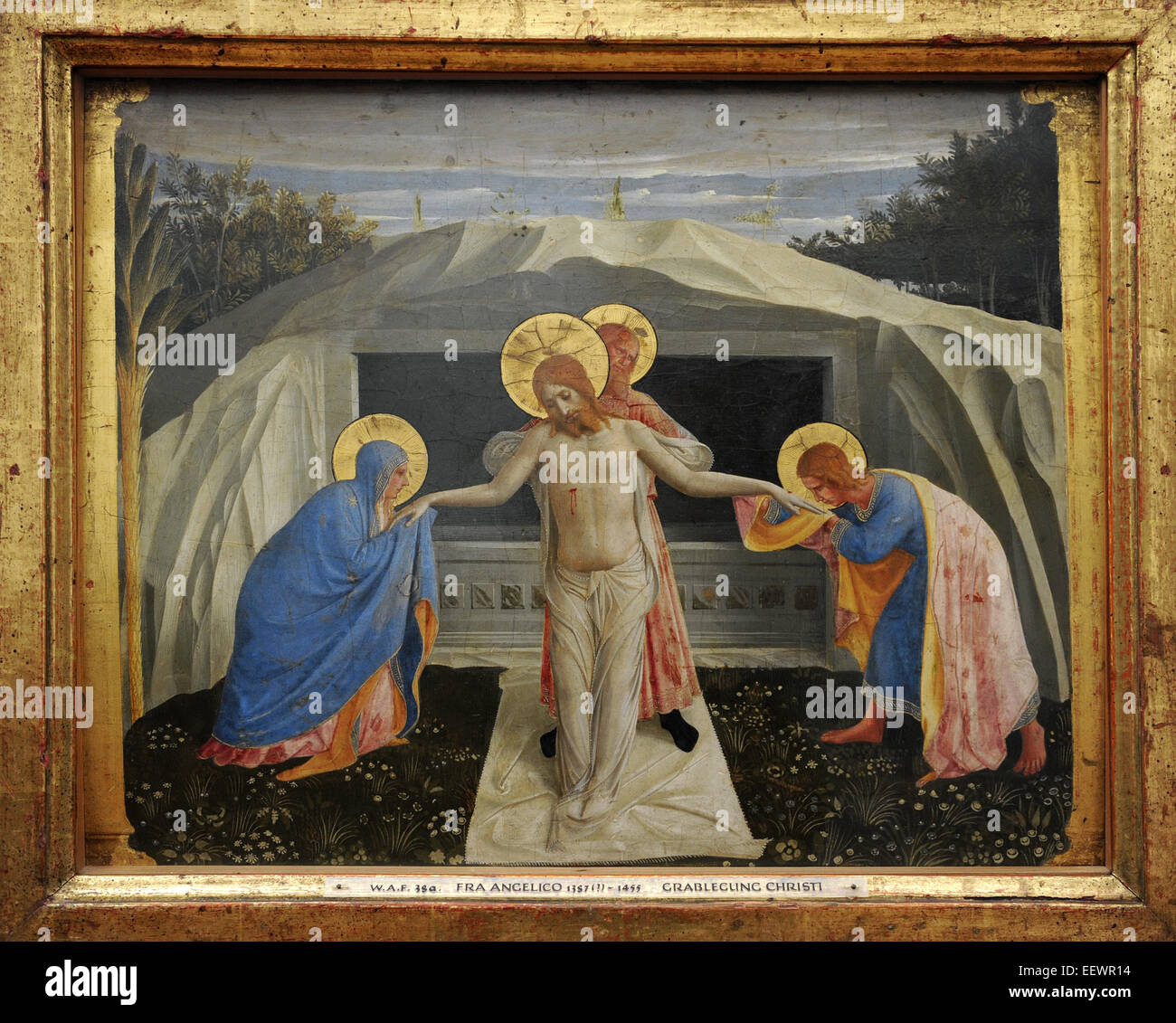 Fra Angelico (1395-1455). Italian Renaissance painter. Entombment of Christ. Abou 1438-1440. Alte Pinakothek. Munich. - Stock Image