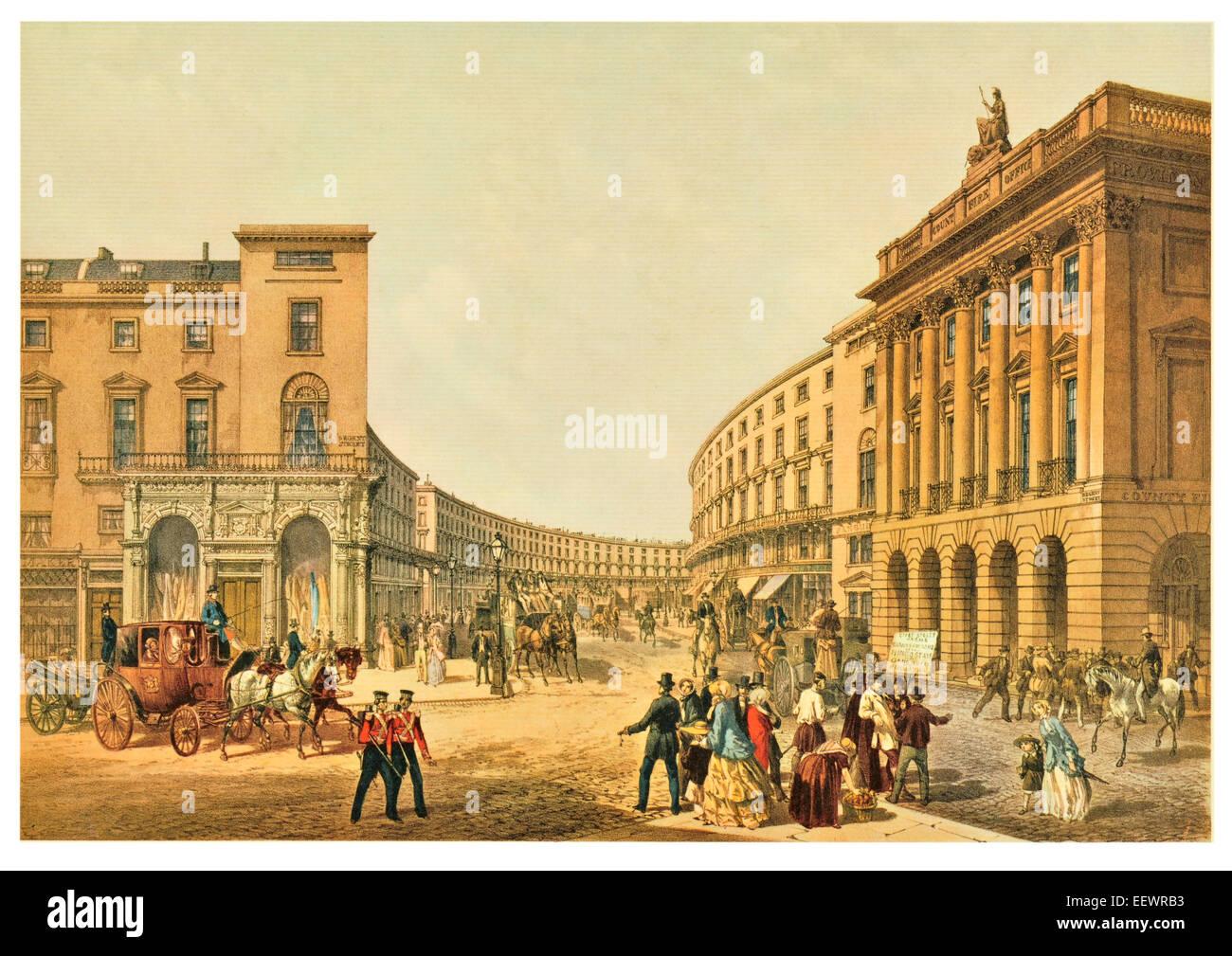 The Quadrant Regent Street 1852 West London shops shop shopping retail Georgian horse drawn carriage coach period - Stock Image