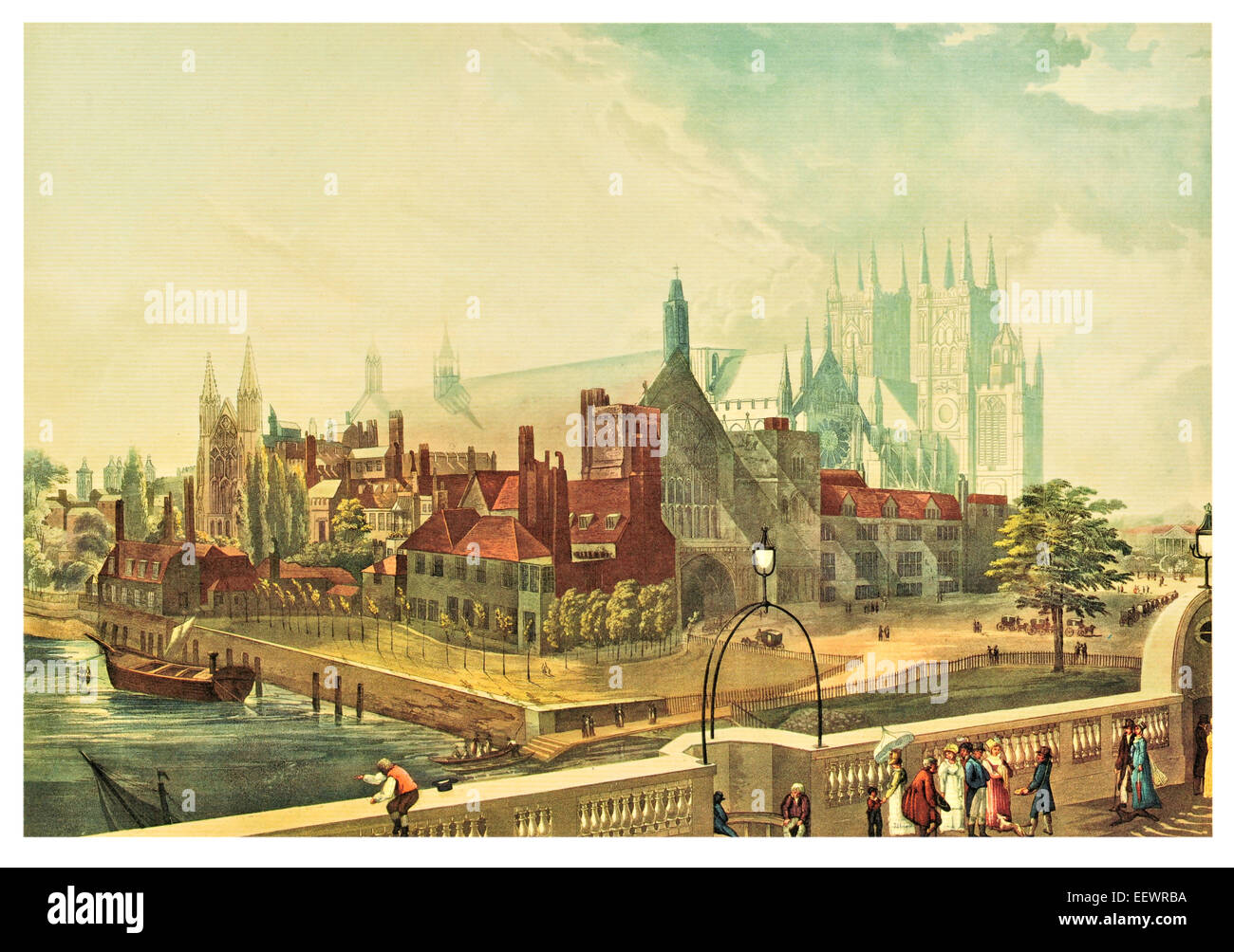 Westminster Hall & Abbey 1819 Palace River Thames Georgian Cathedral Church Houses of Parliament London Stock Photo