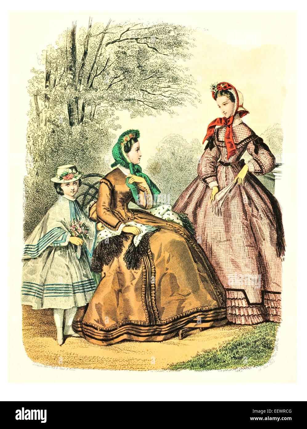 La Mode Illustree 1863 Victorian era period costume fashion dress gown gowns skirt veil cuff frills muslin cap embroidery Stock Photo