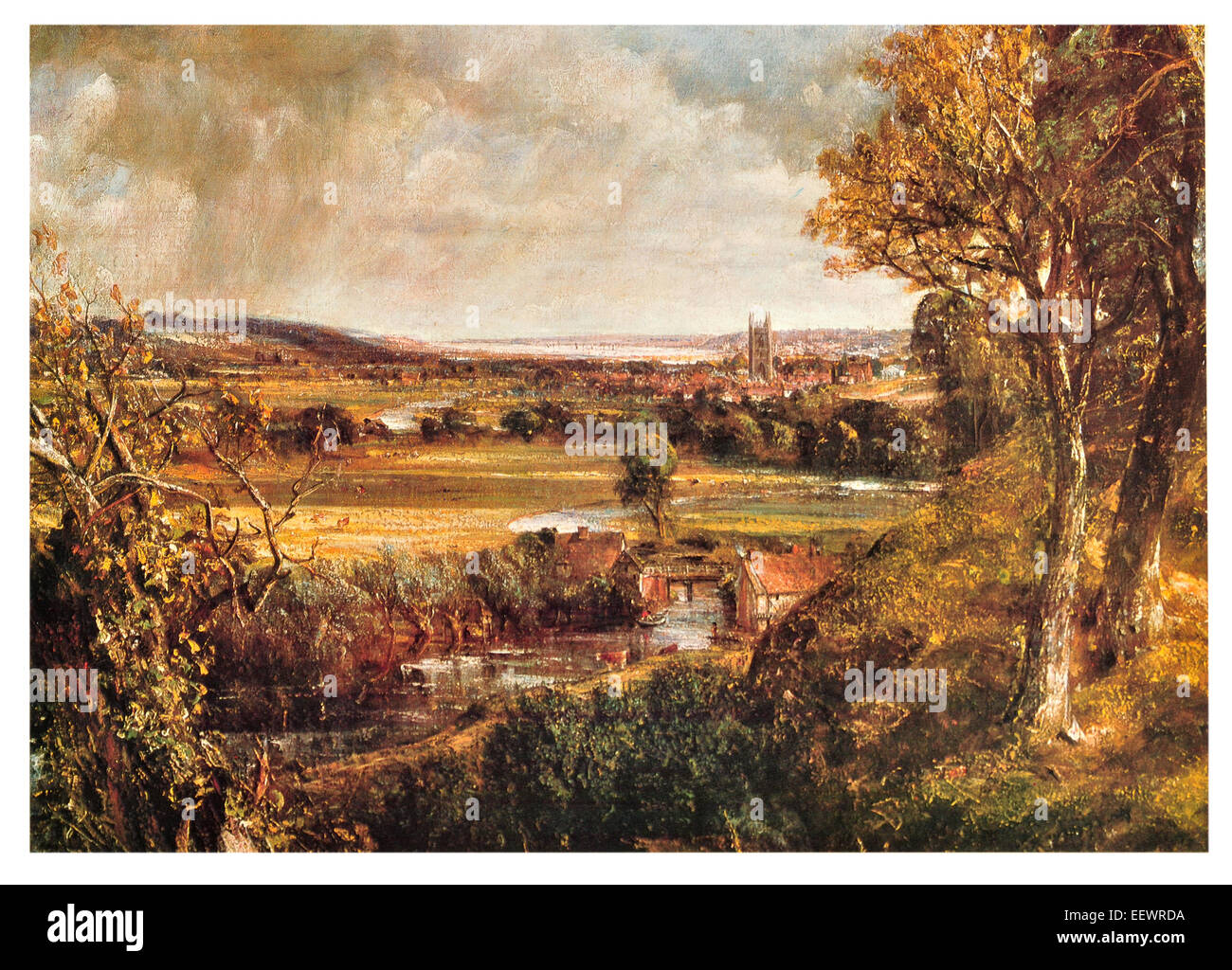 Dedham Vale John Constable Area of Outstanding Natural Beauty  Essex Suffolk east England River Stour 1802 cathedral Stock Photo