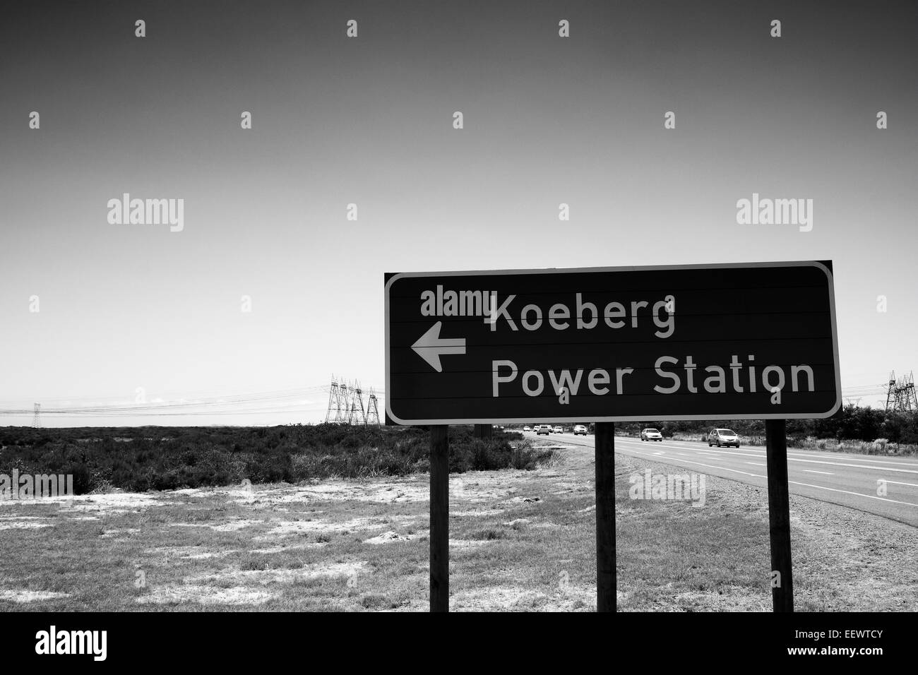 Sign at Koeberg nuclear power station near Cape Town in South Africa.(Black and white photograph) - Stock Image