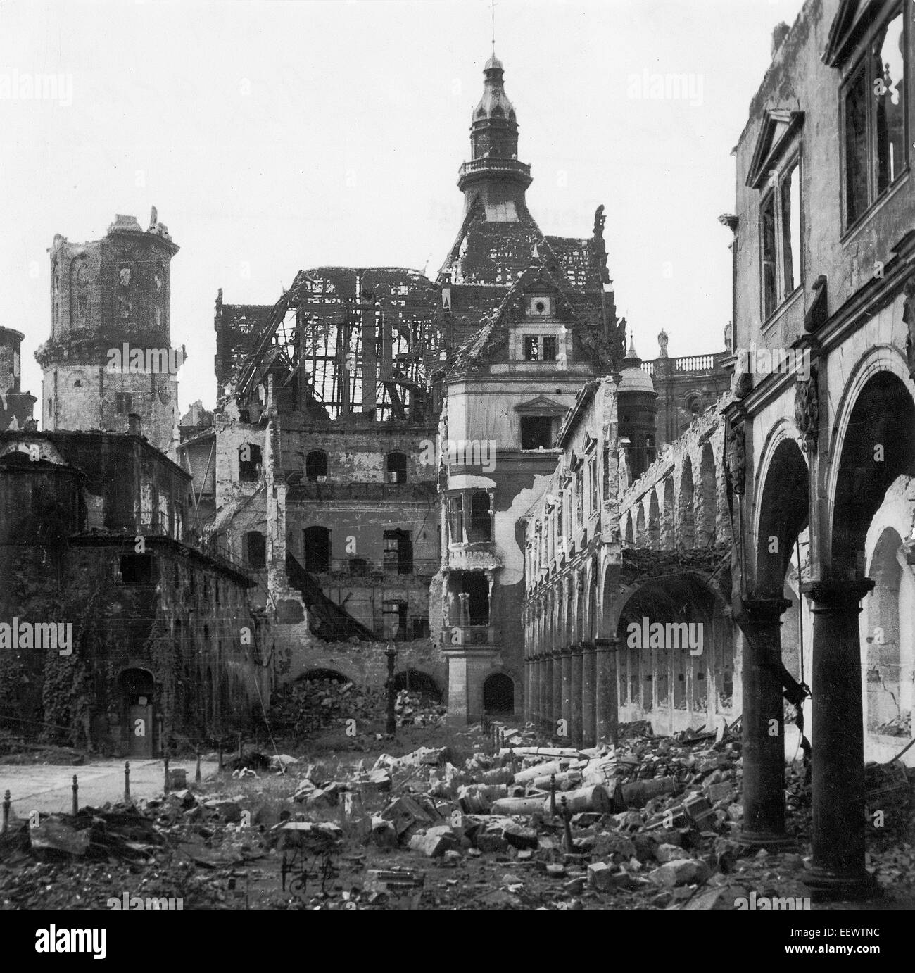 The photo by famous photographer Richard Peter sen. shows the ruin of the Stallhof (Stall Courtyard) at the Dresden Stock Photo