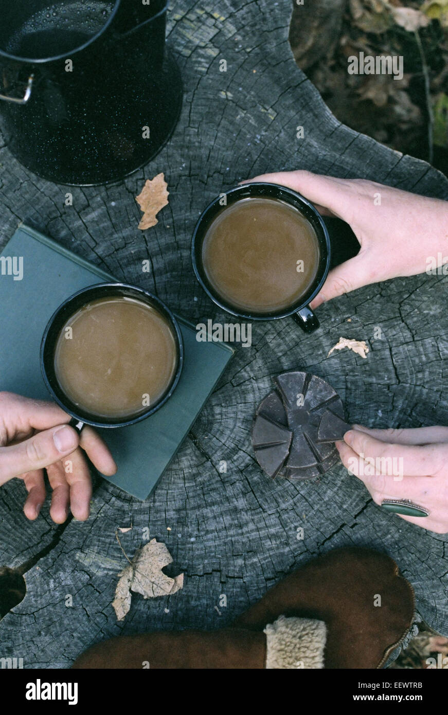 Couple having coffee in a forest, two mugs of coffee, a coffee pot and a pair of gloves on a tree trunk. Stock Photo