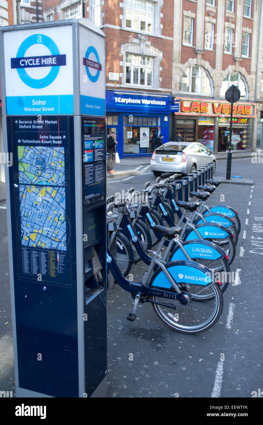 A row of bikes for the Barclays Cycle Hire scheme in Wardour Street London. - Stock Image