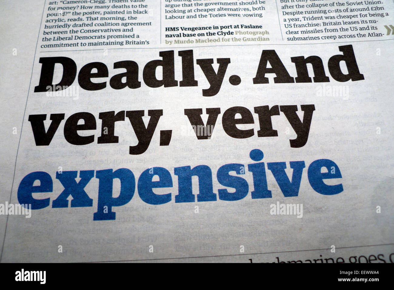 Headline from G2 Guardian newspaper Trident article 2010  'In the Event of Nuclear War'  London UK - Stock Image