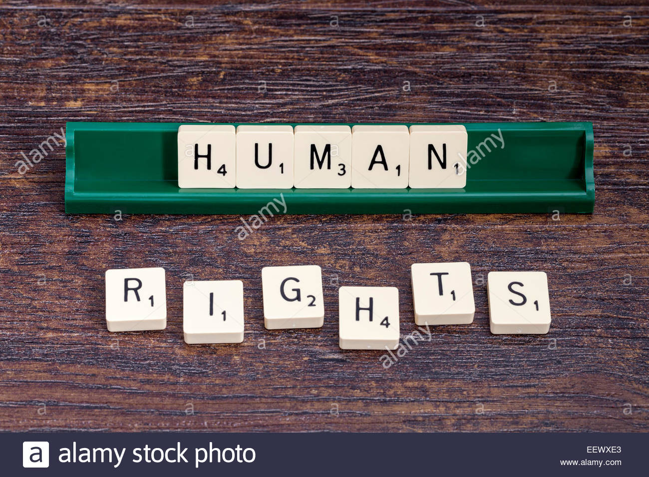 Human Rights spelled out with scrabble letters. - Stock Image