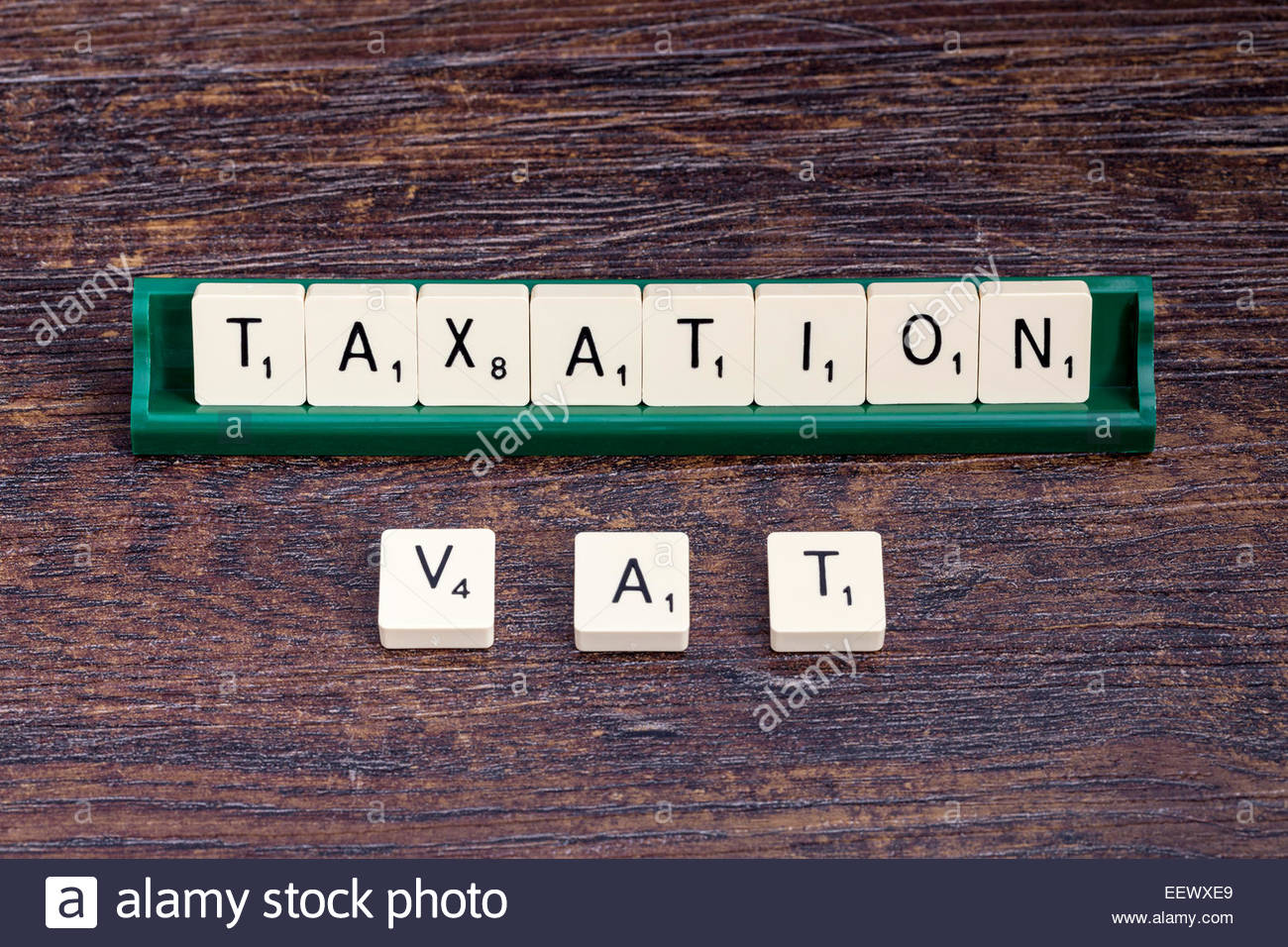 Taxation and VAT spelled out with scrabble letters. - Stock Image