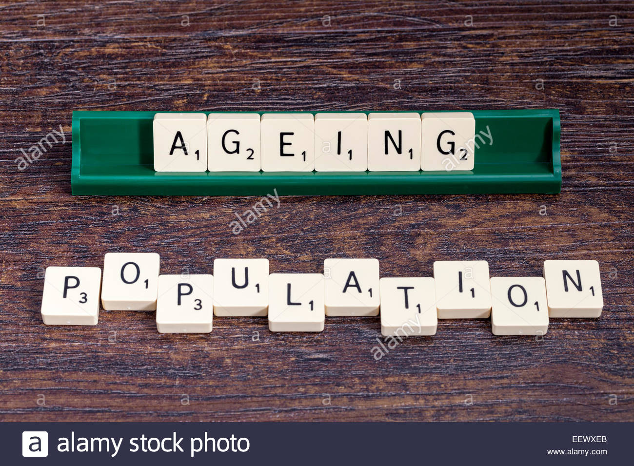 Ageing Population spelled out with scrabble letters. - Stock Image