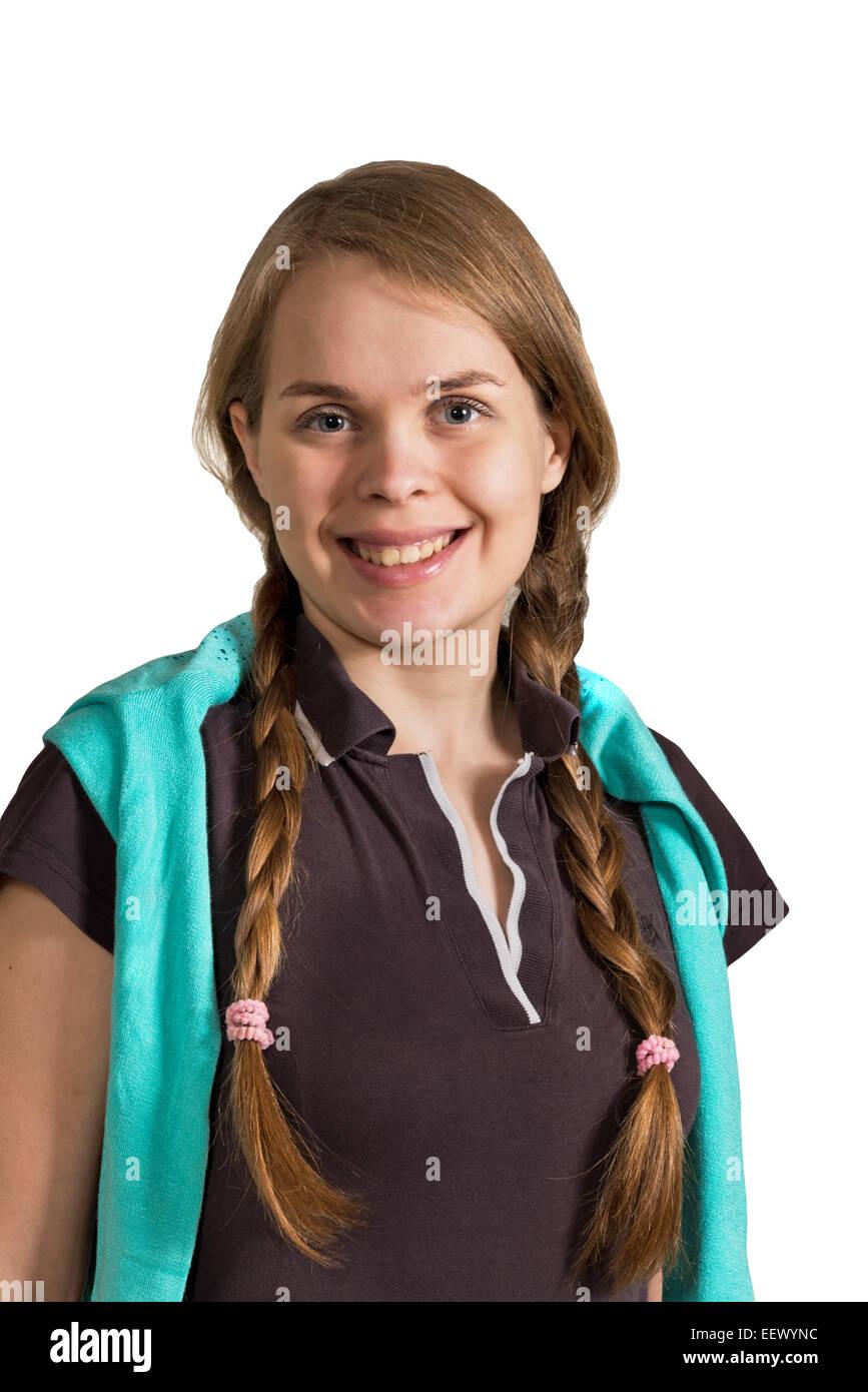 smiling girl isolared on the white background - Stock Image