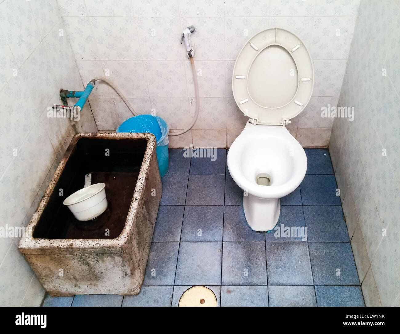 Dirty public toilet of the Thai temple. - Stock Image