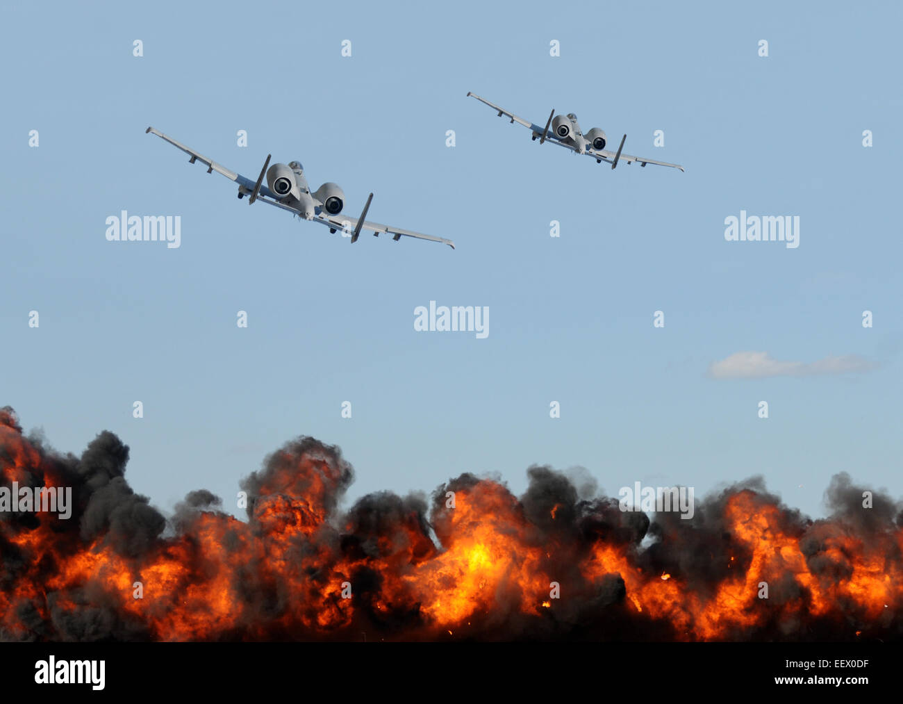 Two air force jets bombing targets - Stock Image