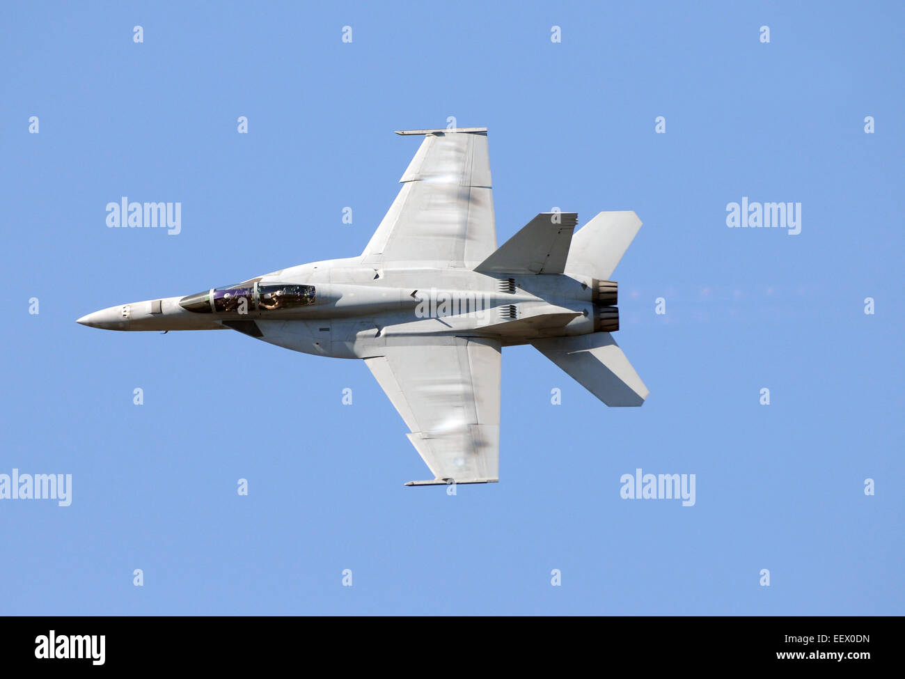 Modern US Navy jet in high speed flight F/A-18 Hornet - Stock Image
