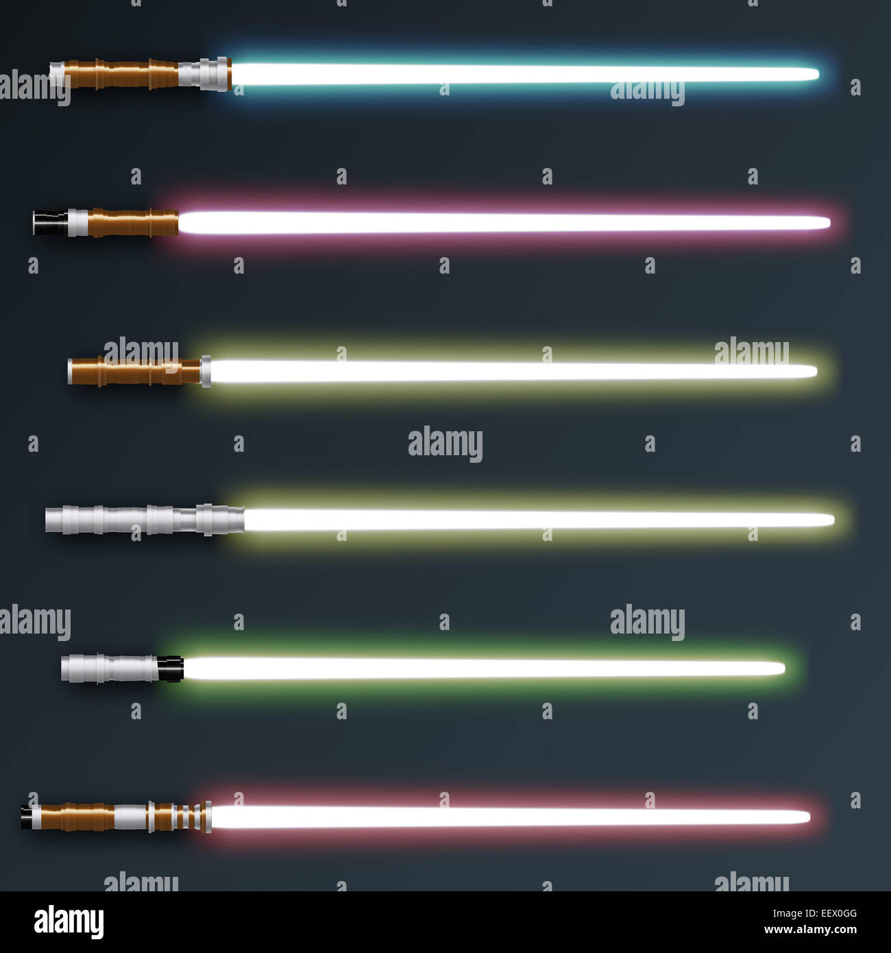 Six light sabers glowing in different colors - Stock Image