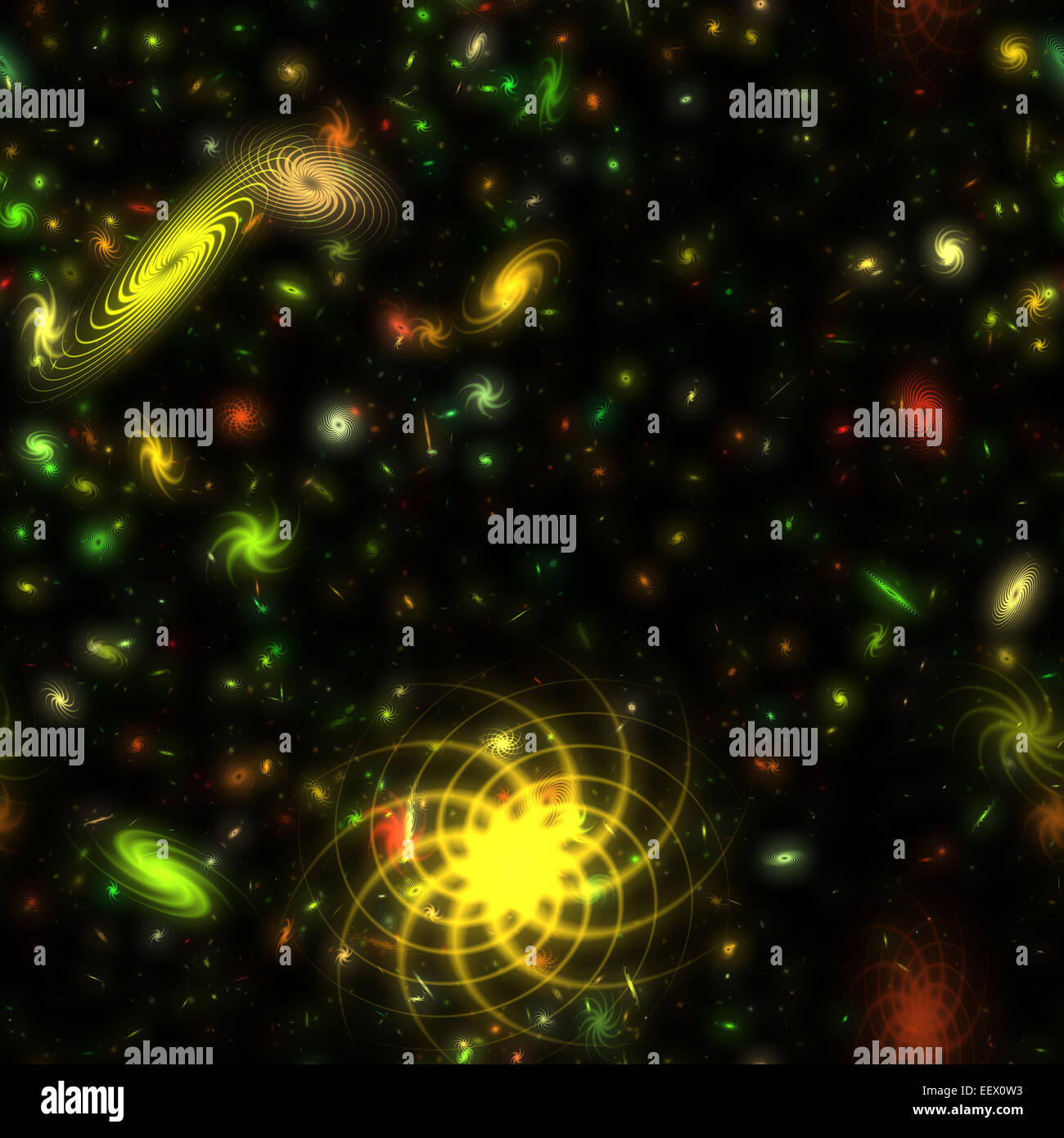 Colorful galaxies and celestial bodies scattered in space - Stock Image