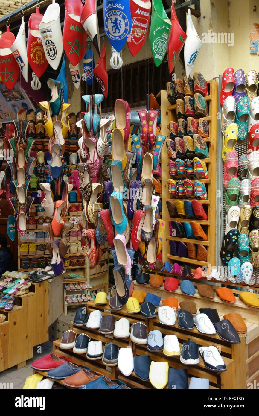 383dea7021a3 Moroccan leather shoes on sale in the souvenir shop