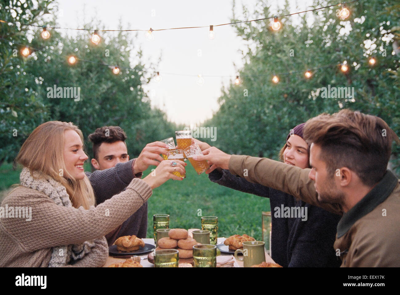 People toasting with a glass of cider - Stock Image