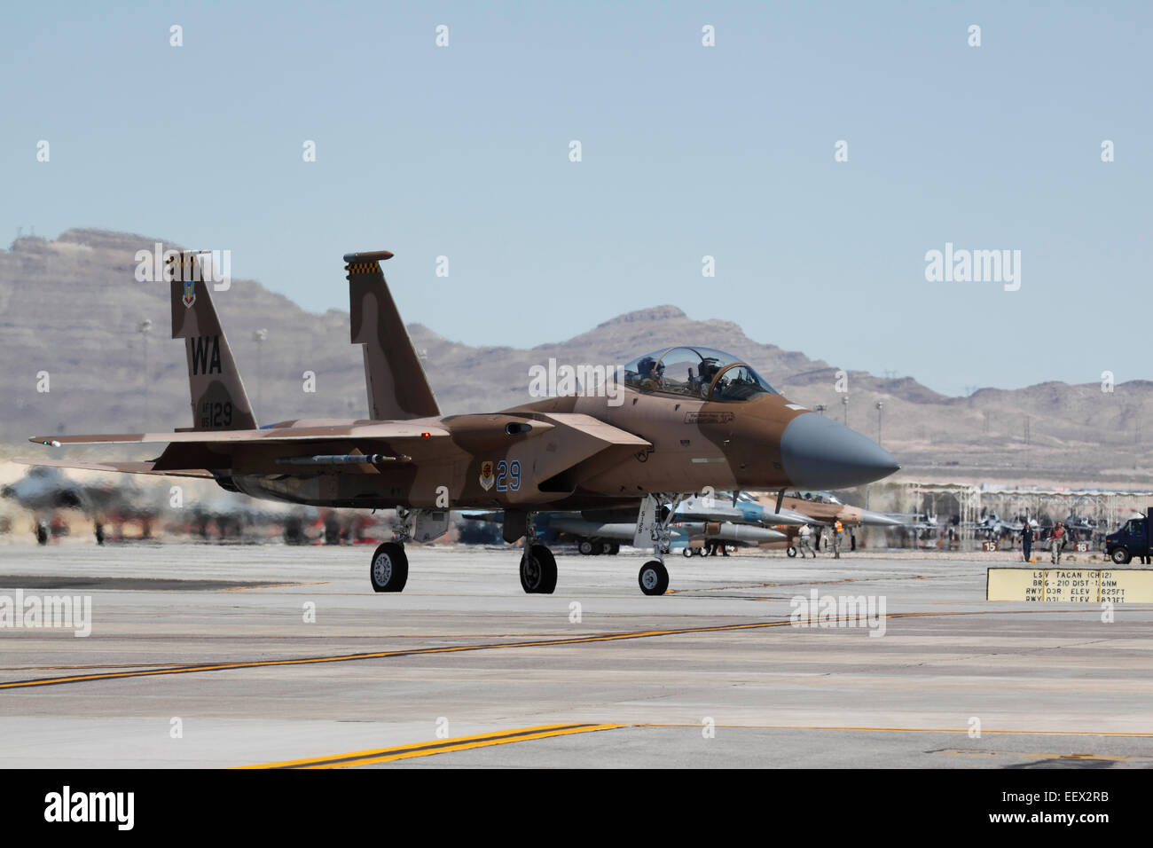 An Aggressor Aircraft Of The 65th Squadron Prepares To Take Off At A Red Flag Exercise