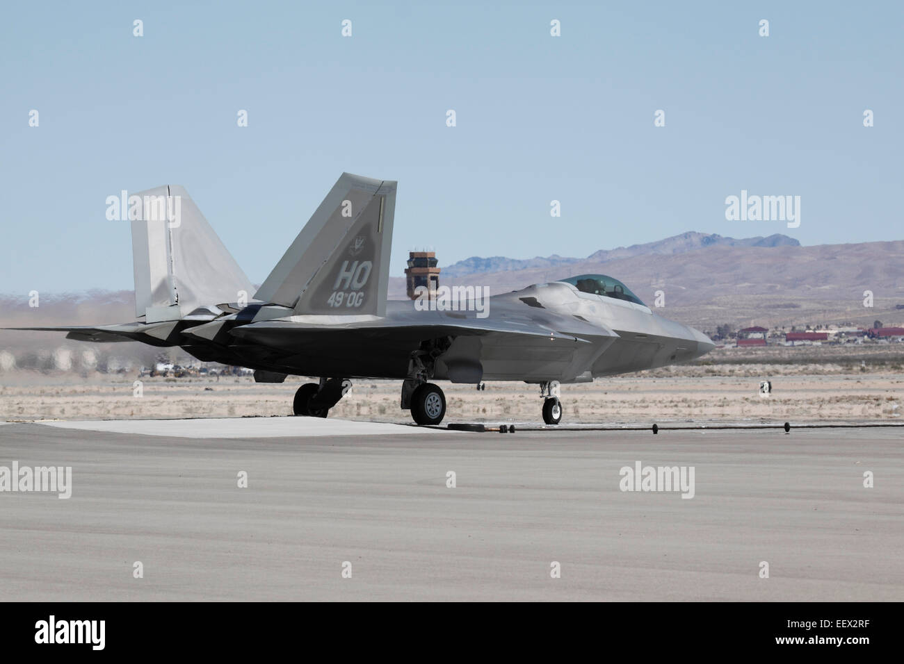 an F-22 fighter jet of the United States Air Force prepares to take off Stock Photo