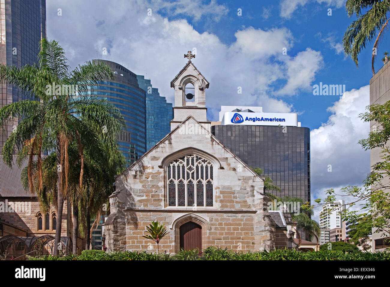 Skyscrapers and St Stephen's Old Catholic Cathedral / St. Stephen's Chapel in Brisbane, capital city of - Stock Image