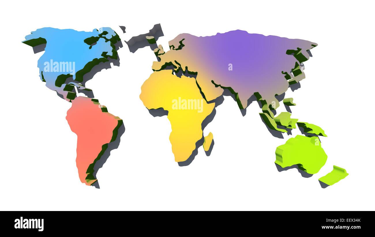 Map of the world isolated on white background - Stock Image